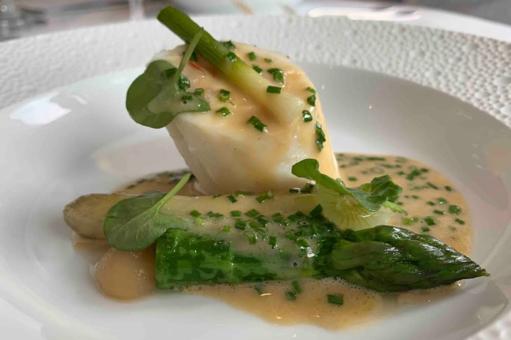 Waterside Inn Bray Lemon sole asparagus and sauce