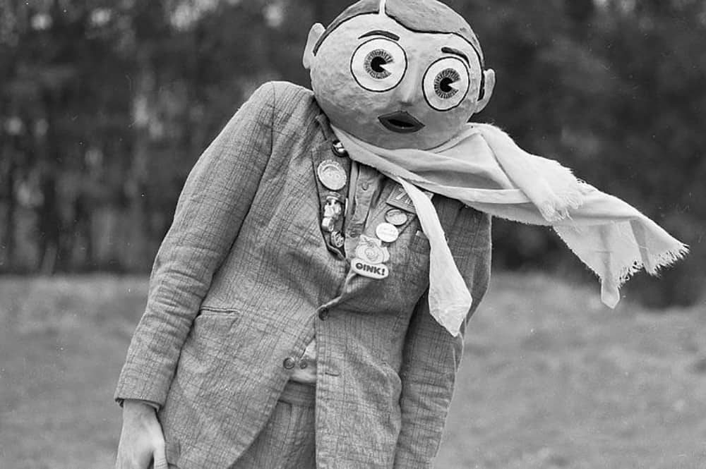 Black and white image of Frank Sidebottom