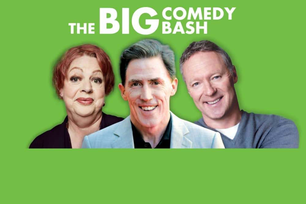 comedians Jo Brand Rob Brydon and Rory Bremner The Big Comedy Bash READING