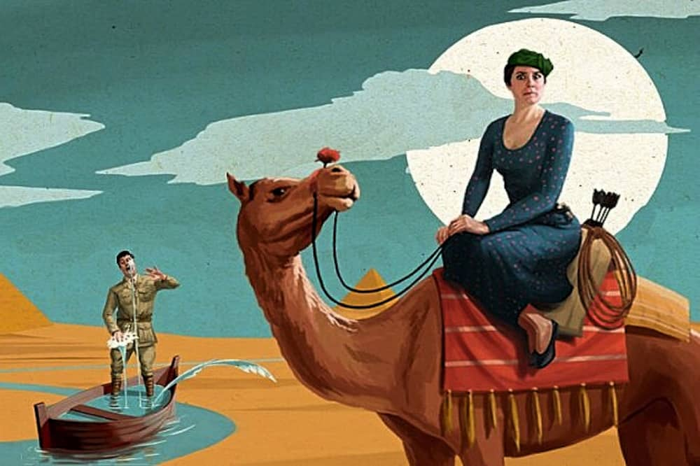 Crimes of the nile windsor Theatre Royal woman on camel man in a boat
