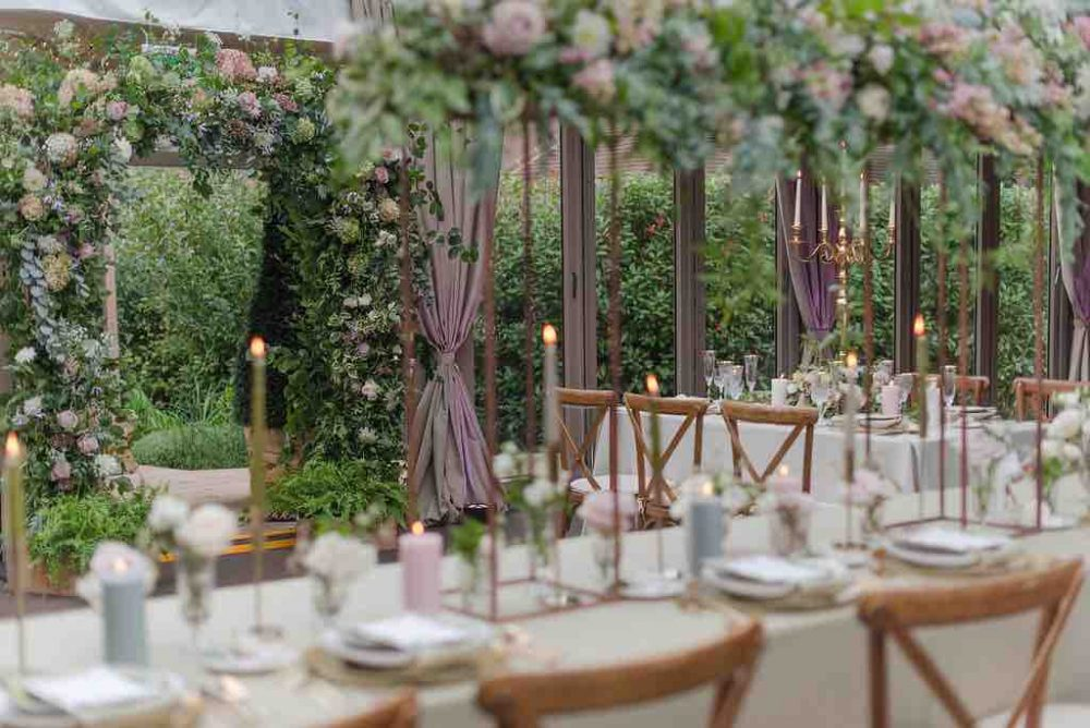 Hurley House Hotel Maidenhead Berkshire wedding venue Garden pavillion floral reception