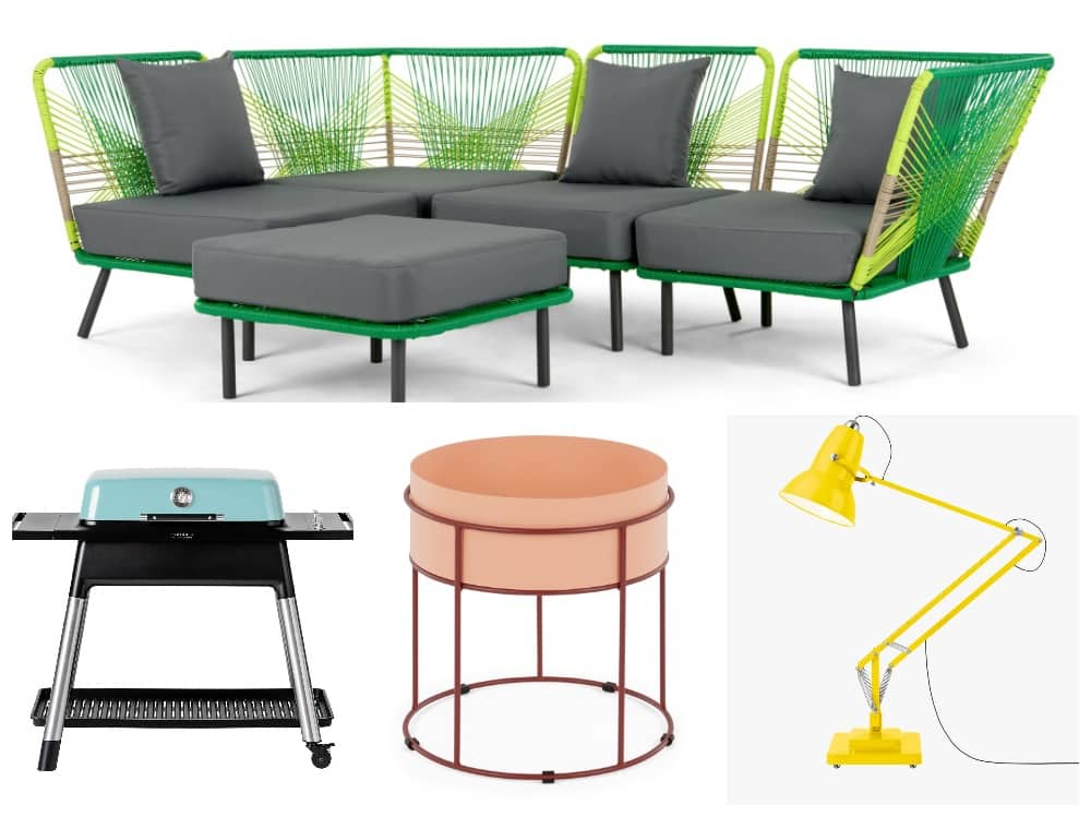 Collage of bright colourful outdoor furniture and accessories