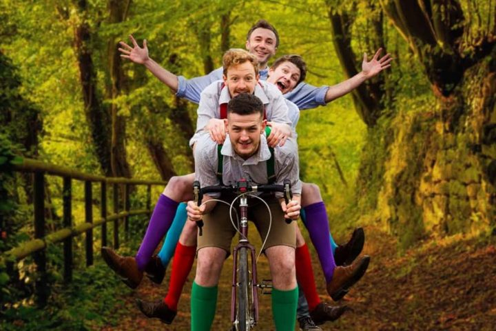 Handlebards Much Ado about nothing actors on bikes outdoor theatre touring company