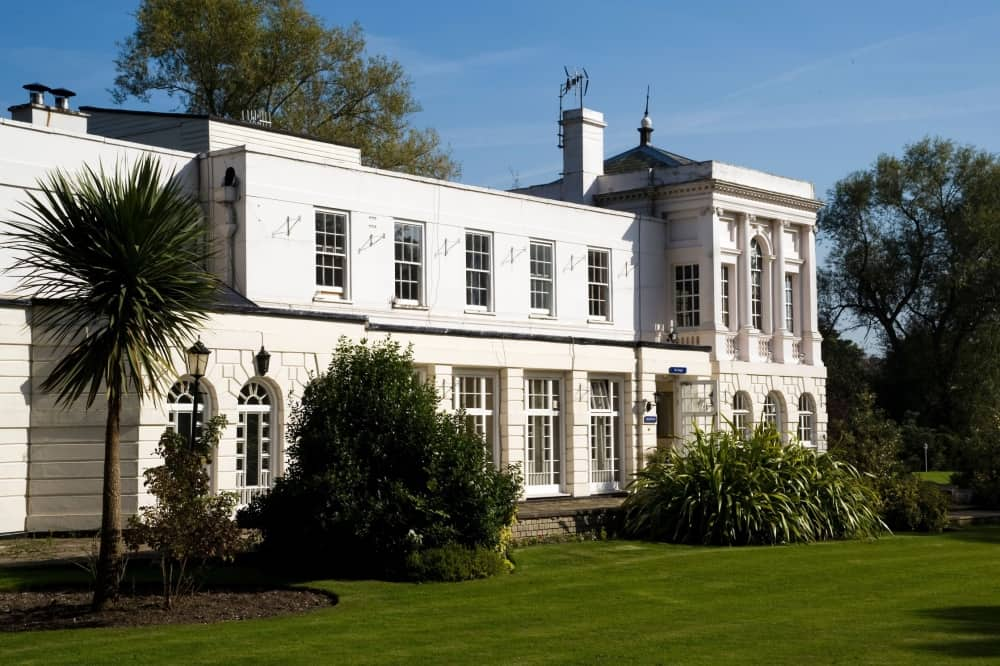 Monkey Island Estate Bray Berkshire white grade 1 listed Temple building lawn and shrubs