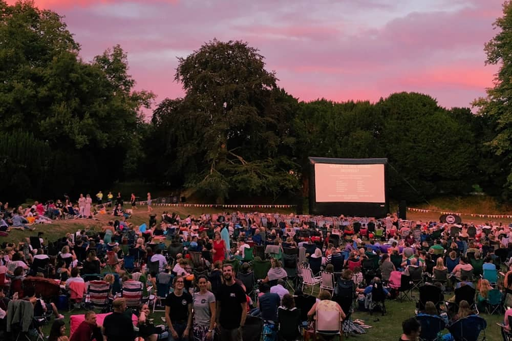 Sunset outdoor cinema Shaw House Newbury Berkshire