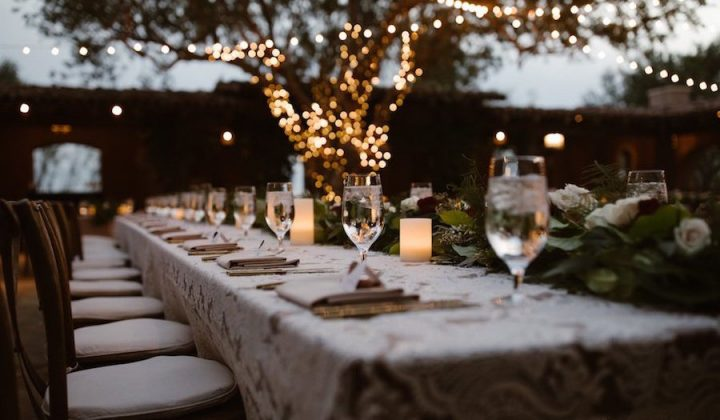 The Hidden Garden Henley Regatta long table fairy lights in tree candles