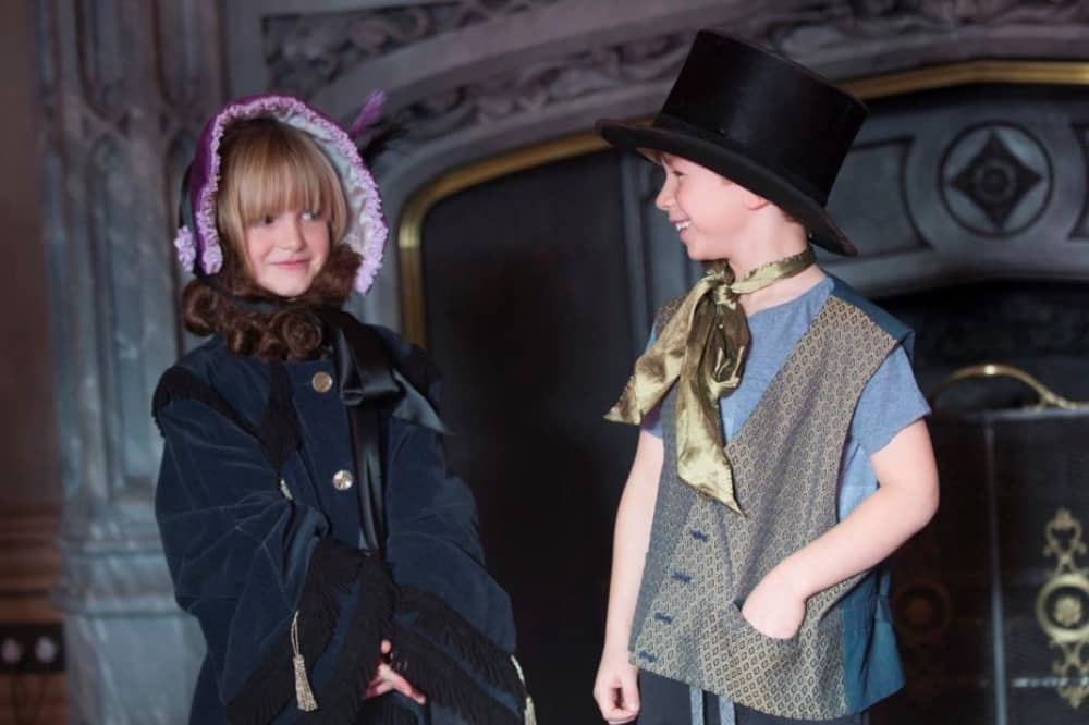 Child and boy dress up as Victoria and Albert at Windsor castle