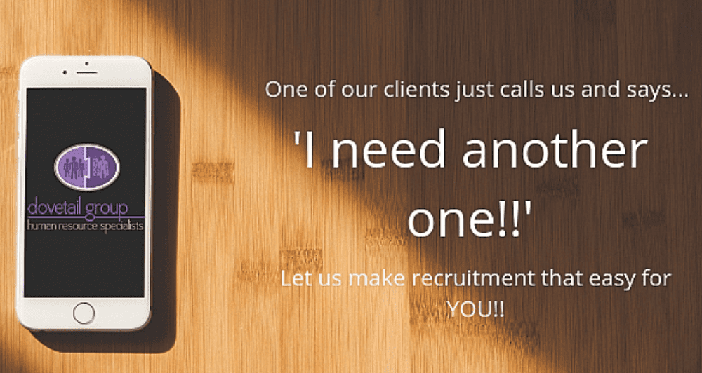 Dovetail Human Resources Services phone with logo and testimonial quote