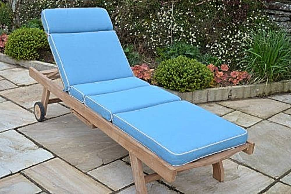Field and Hawken sustainable teak sun lounger and cornflower blue cushion