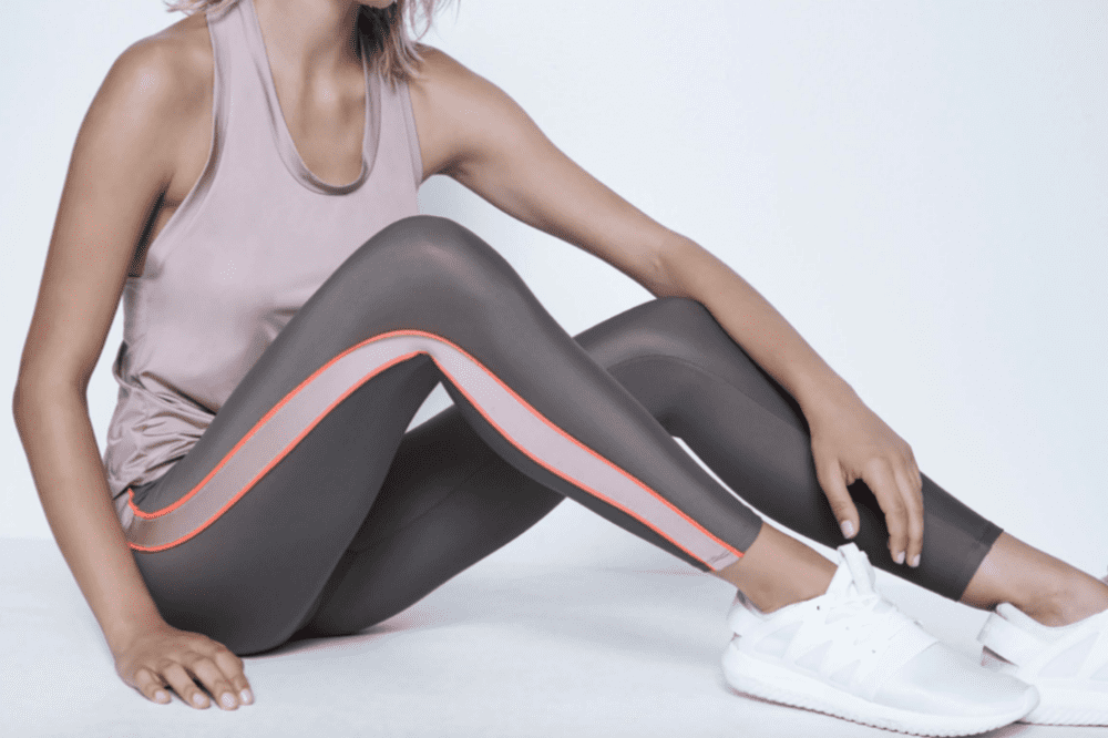 Beau Britches luxury activewear taupe and blush leggings and vest