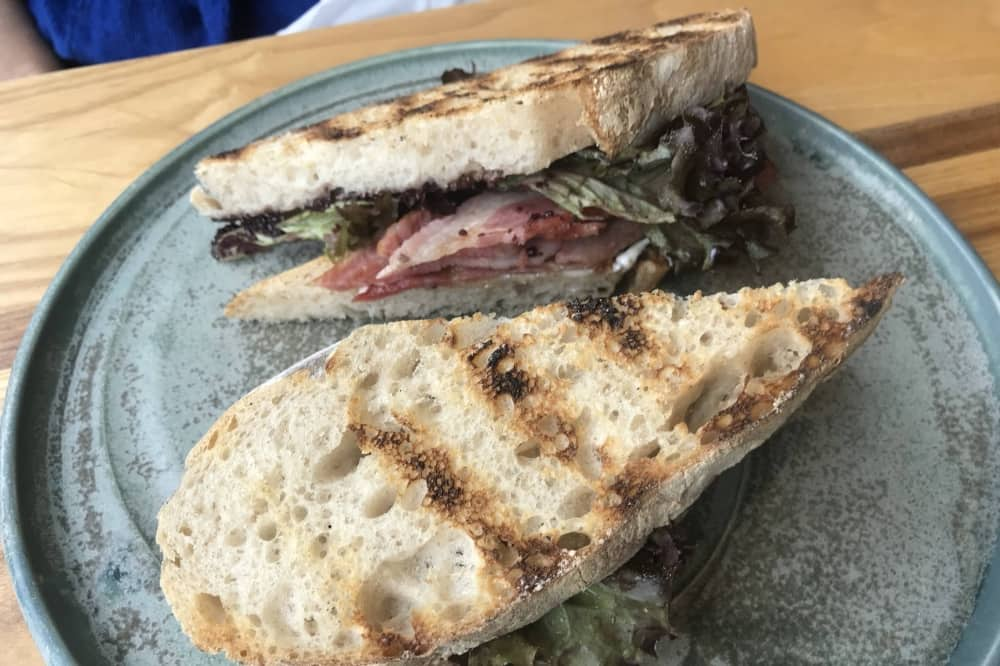 Thames Lido Reading Berkshirie taosted sour dough bread bacon sandwich