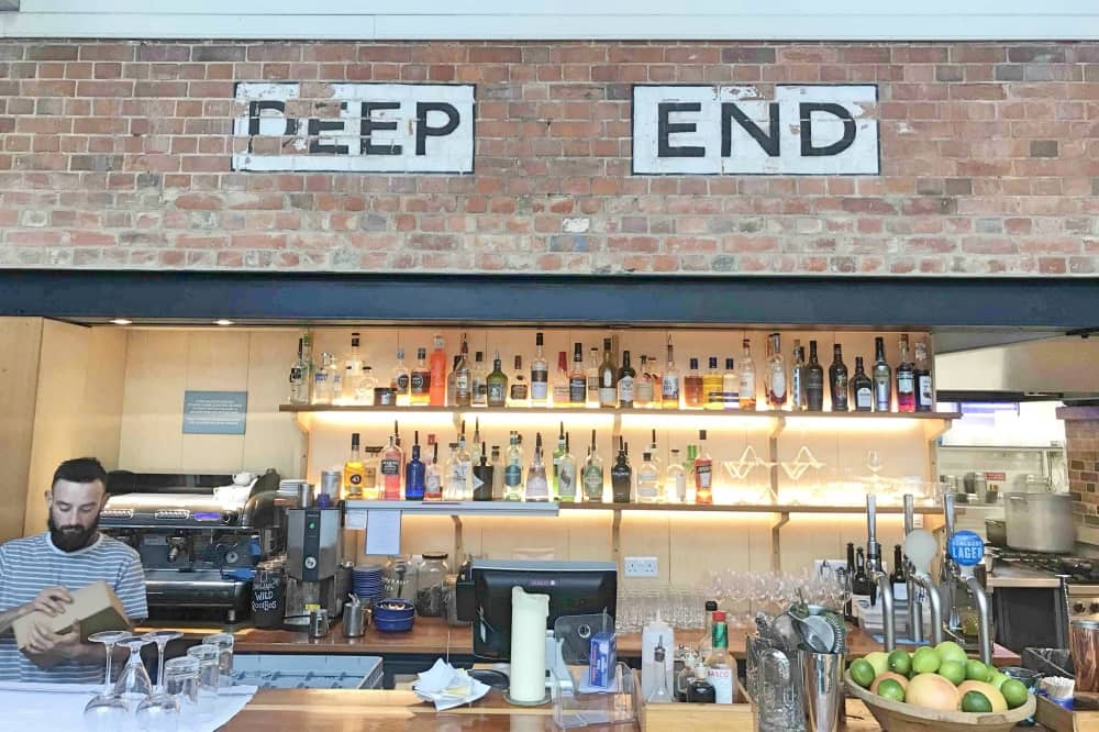 Thames Lido Reading Berkshire bar Deep End sign exposed brick wall