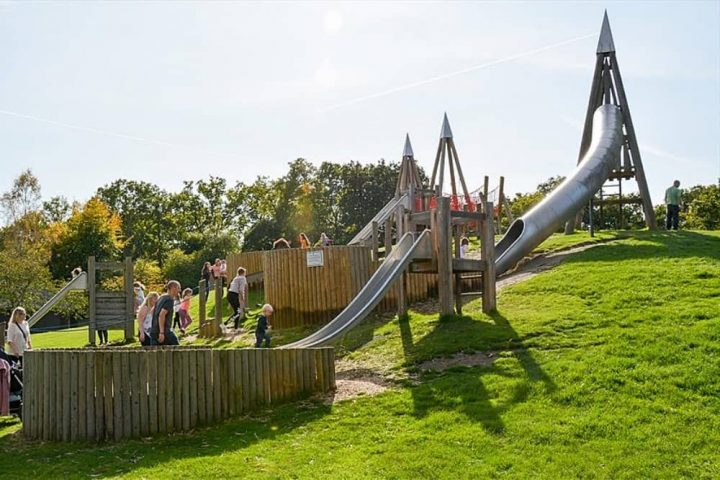 Wellington Country Park play area with slde