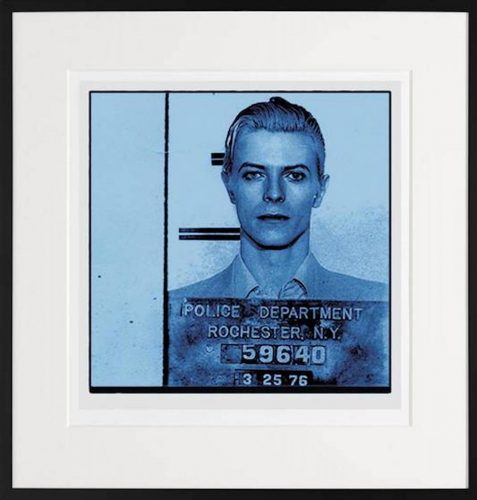 David Bowie police mugshot print blue filter. Available online and Castle Fine Art Reading and Windsor.