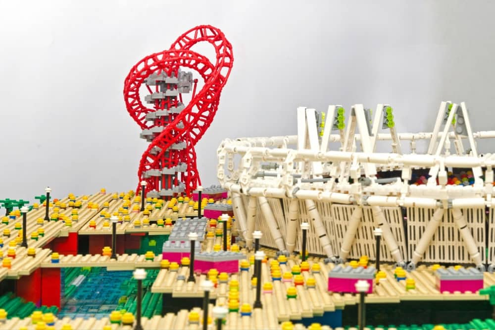 Brick city the base greenham common newbury berkshire lego model of London Olympic stadium and sculpture and slide