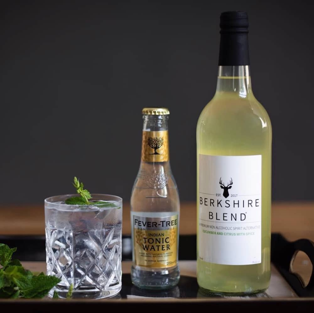 Non alcoholic gin Berkshire Blend served with tonic and herbs