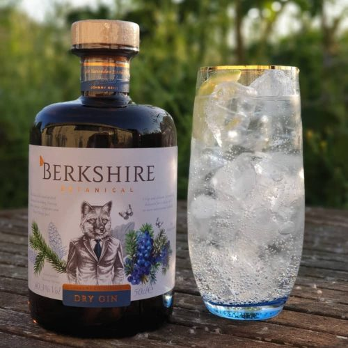 Berkshire Botanicals Berkshire gin fox on label glass packed with ice gin and tonic