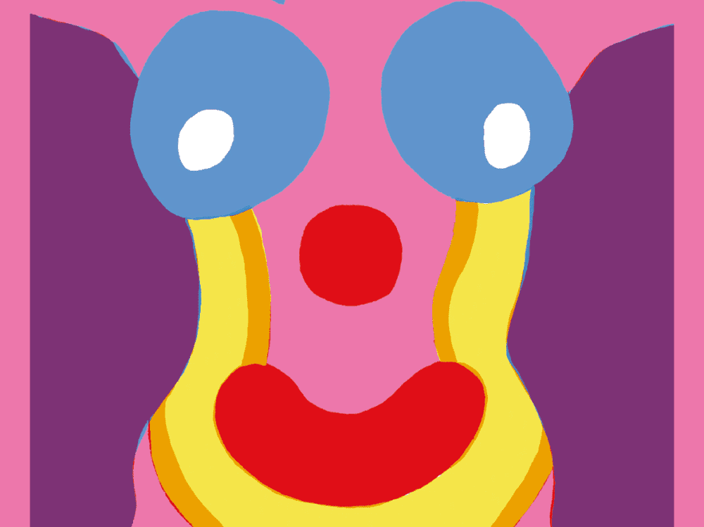 Clown Sex play illustration of woman's body wit clown face