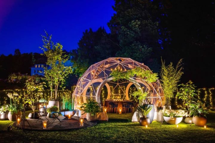 Coworth Park Dom Perignon dining under the stars outdoor dining orb candlelit gardens