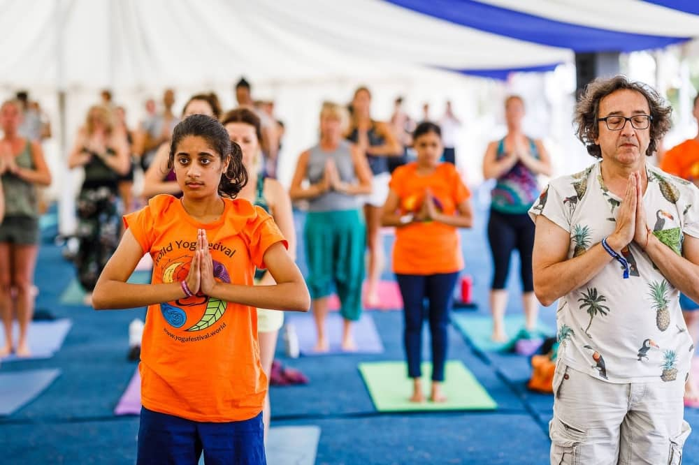 World Yoga Festival Beale Park Pangbourne indian tent with yoga class