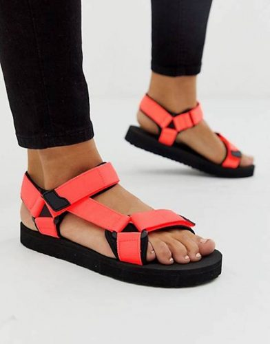 velcro climbing sandALs with neon orange straps