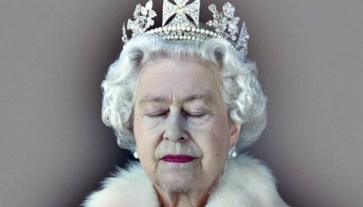 Queen Elizabeth I crown fur teimmed white coat pearls with eyes closed Christ Levine Artist