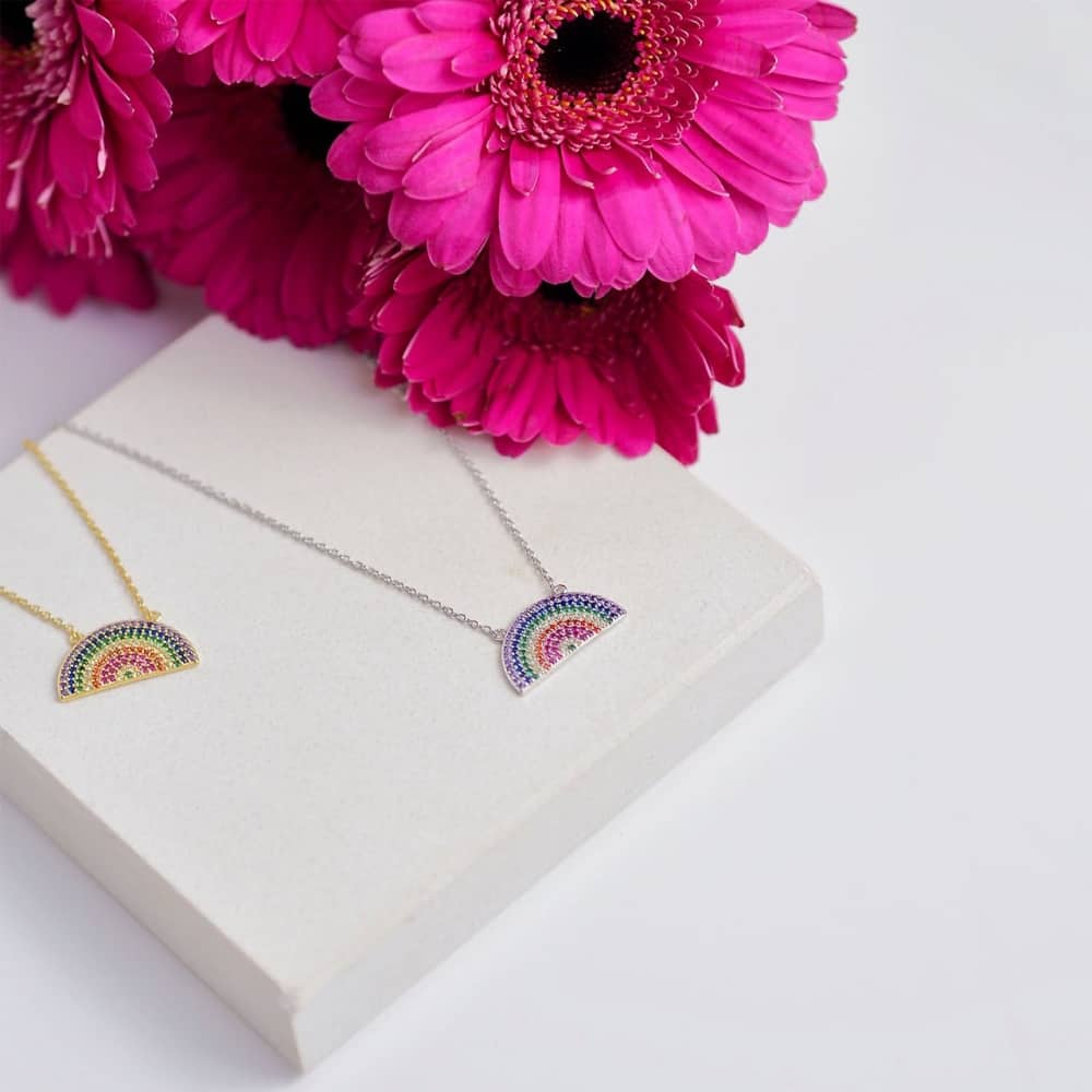 Gift Pop rain bow necklaces in silver and gold