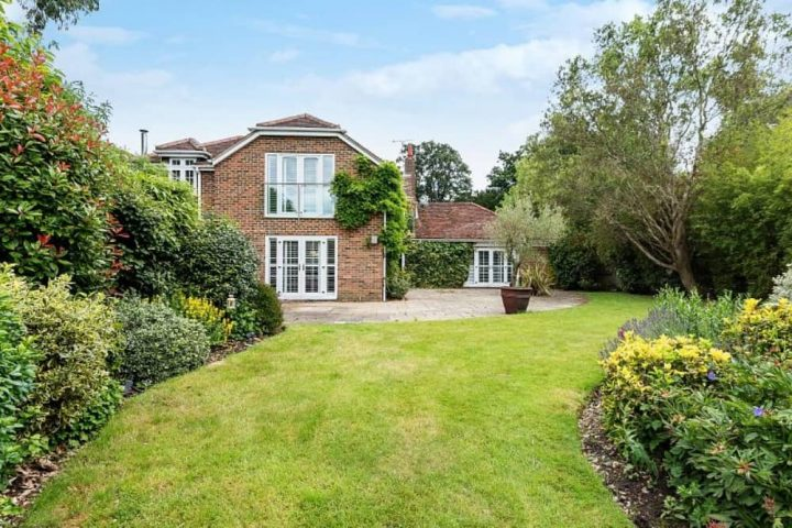 GARDEN House Hurst Berkshire mature garden lawn main brick house