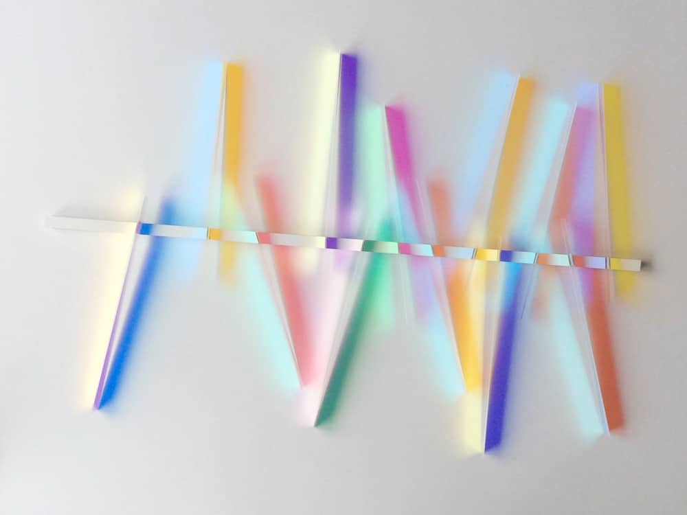 Hidegard Pax glass art pastel pieces of glass in zigzag