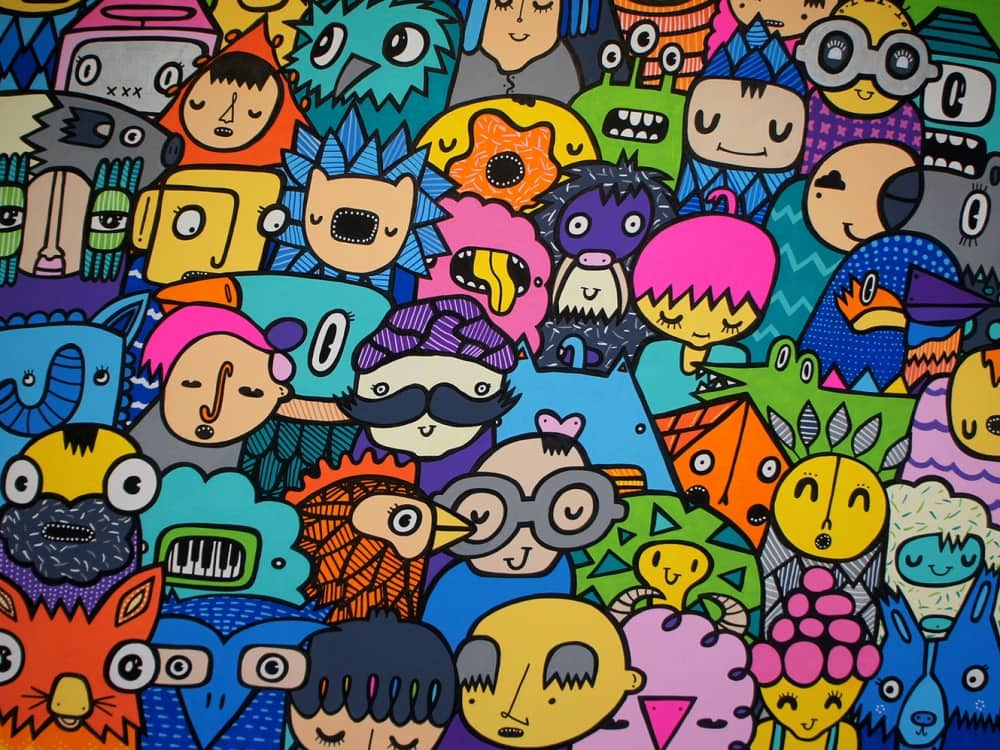 Kev Mundy graffiti artist colourful cartoon like characters