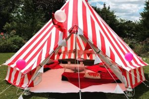 The Sleepover Party people Bell Tent red and white stripe