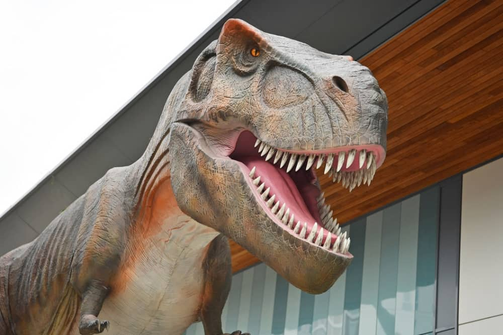 Huge T Rex animatronic dinosaur outside M&S and H&M The Lexicon Bracknell