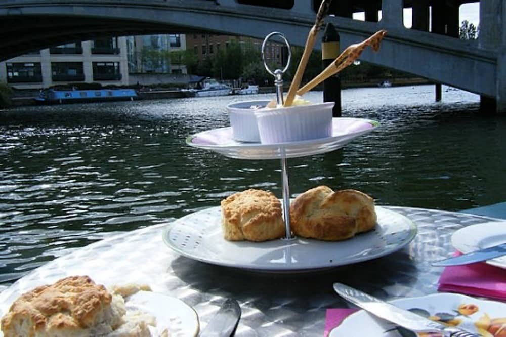 Whittington's Tea Barge scones and river view