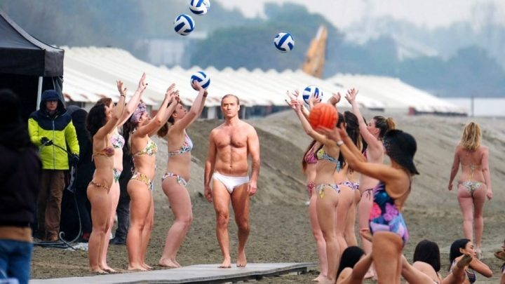 Judde Law New Pop trailer white swim trunks and bikini wearing girls volleyball