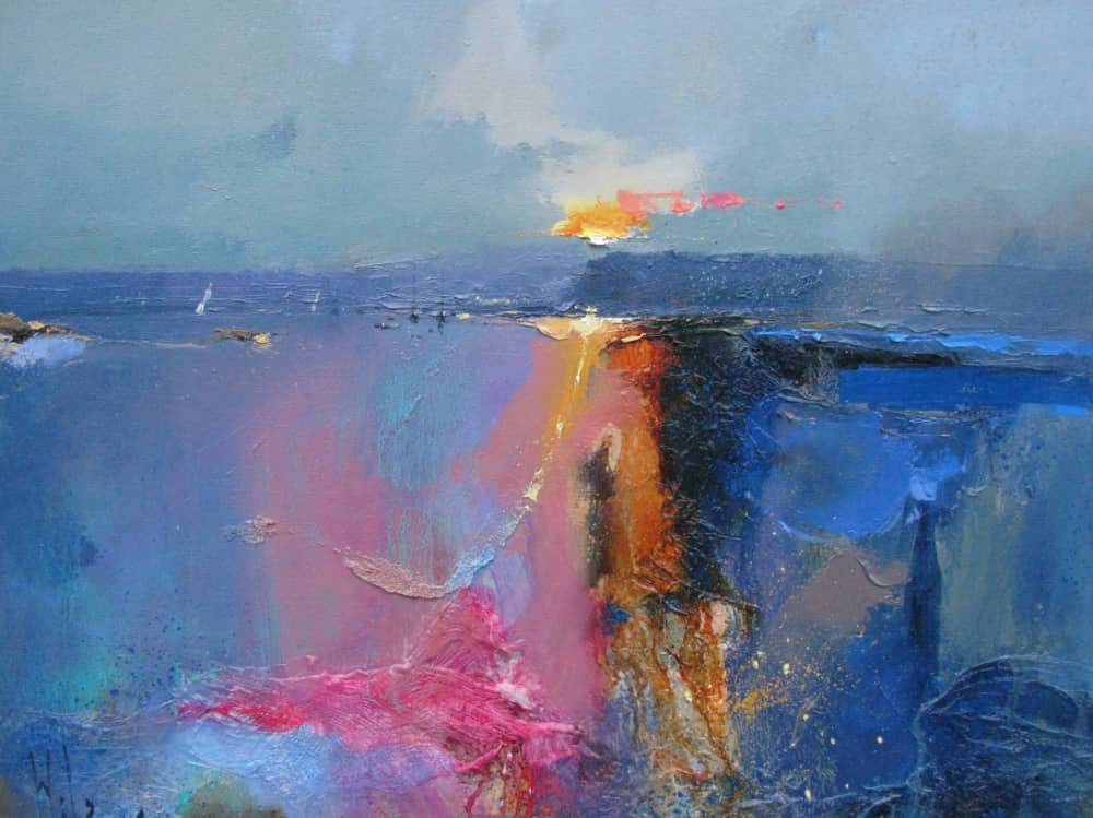 Abstract oil painting of sea harbour and waves pinks blues and golds Peter Wileman Morning Song