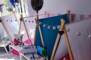 The Sledepover Party People Berkshire indoor teepees fairy lights and trays