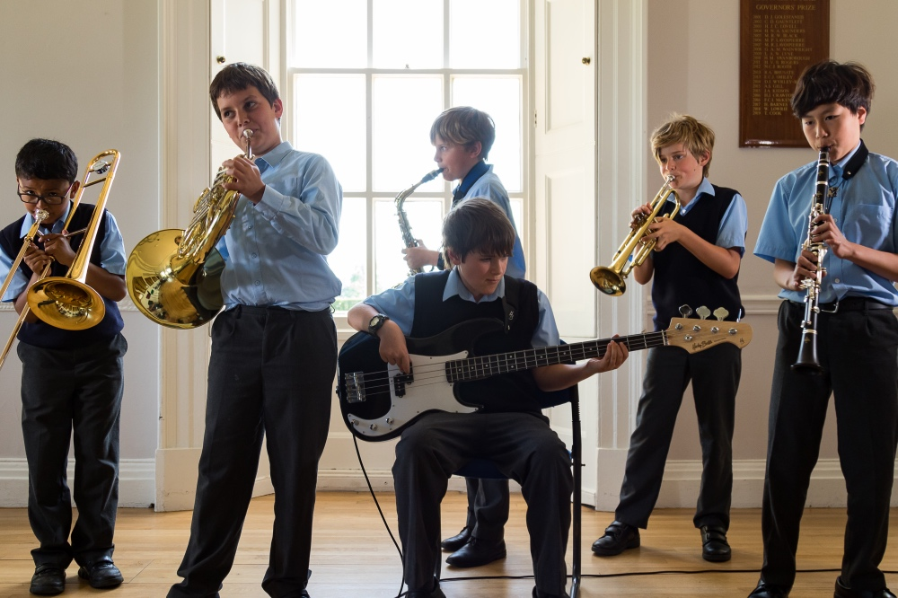 Elstree prep school Berkshire music room guitar and brass
