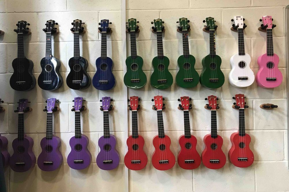 LVS Ascot Bekrshire ukeleles on the wall music department
