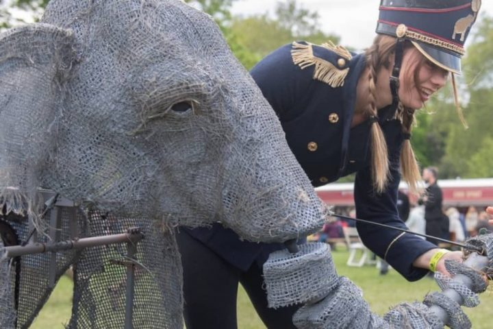 puppet of an elephant and woman in hat and uniform Queen Victoria's circus Windsor Castle
