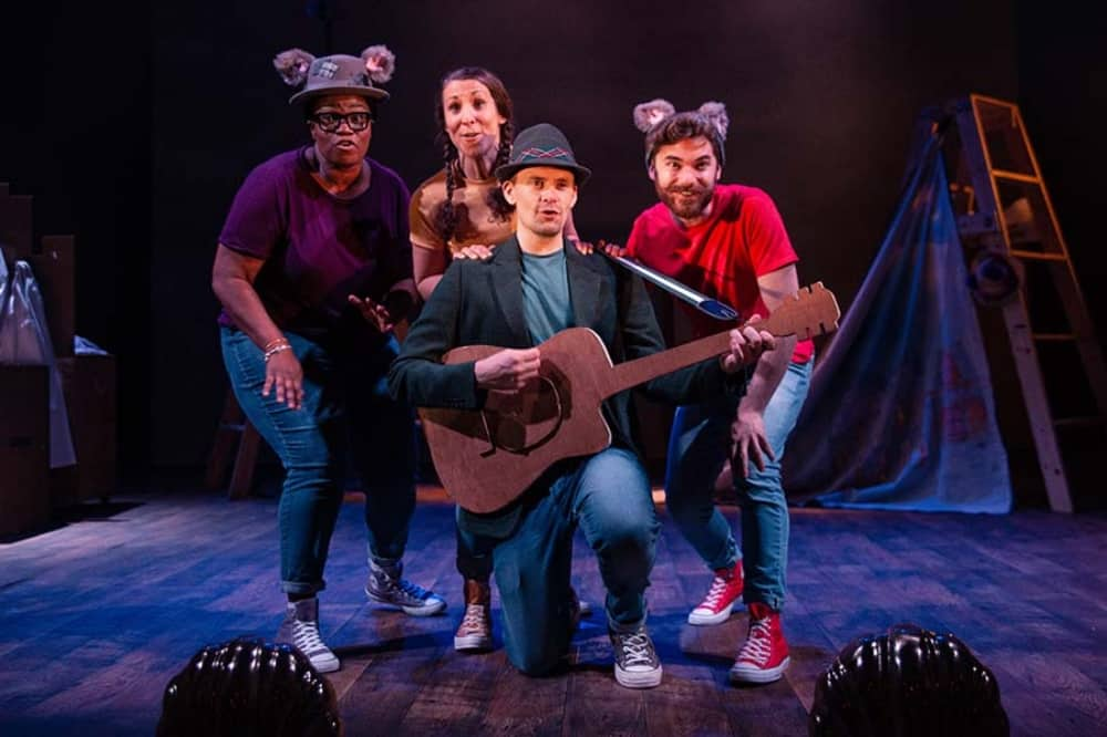 Tabby McTat Theatre Live man with guitar two actors with cat ears