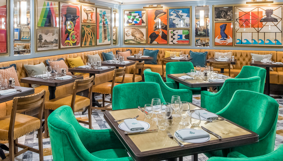 The Ivy Collection contemporary artwork green velvet chairs and mustard velvet banquettes coming soon to Windsor
