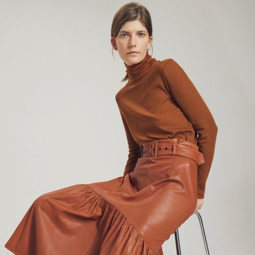 Whistles AW19 rustleather skirt and polo