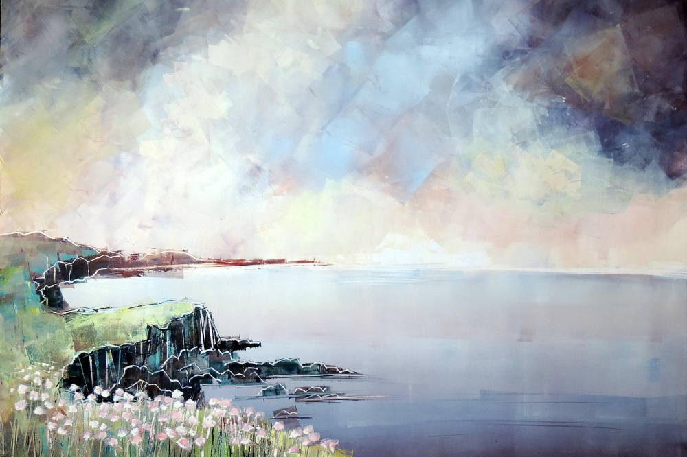 Wokingham Arts Trail Clare Buchta sea AND cliffs grey skies