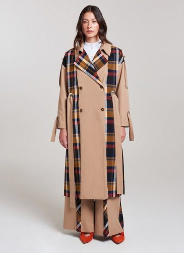 palones-trench camel and check details