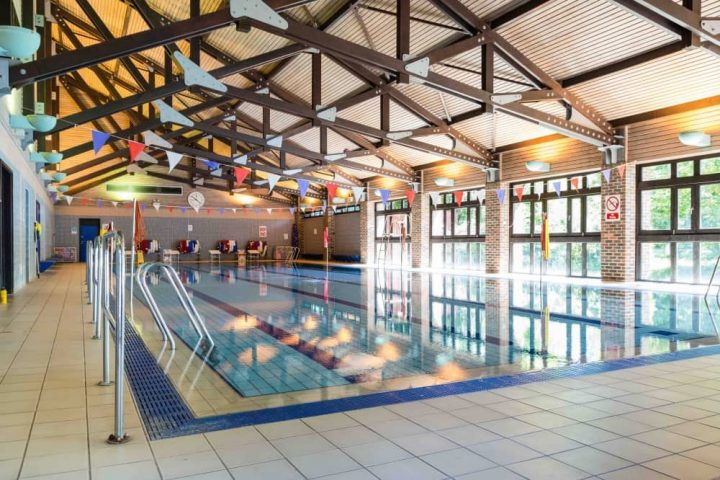 LVS Ascot Berkshire co ed 4-18 school Ascot Berkshire swimming pool with beamed roof