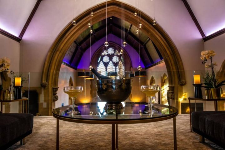Church house berkshire living room two sofas round glass coffee table church arch stained glass