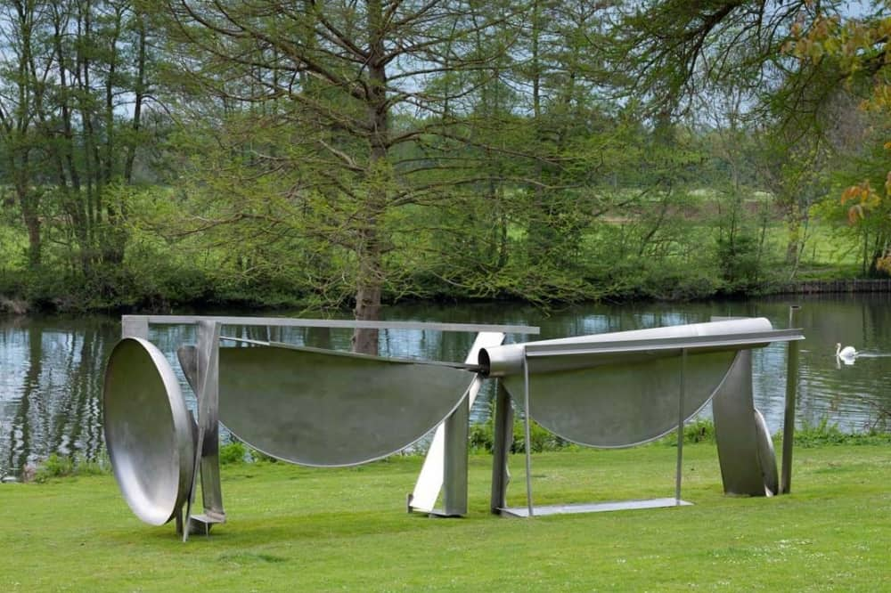 Cliveden National Trust and Cliveden House Hotel Taplow Berkshire modern metal sculpture by Anthony Caro on grass by river thames