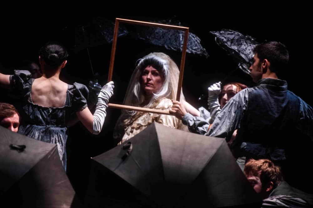 Great Expectations stage production south hill park bracknell Miss Havisham gold frame and umbrellas – review
