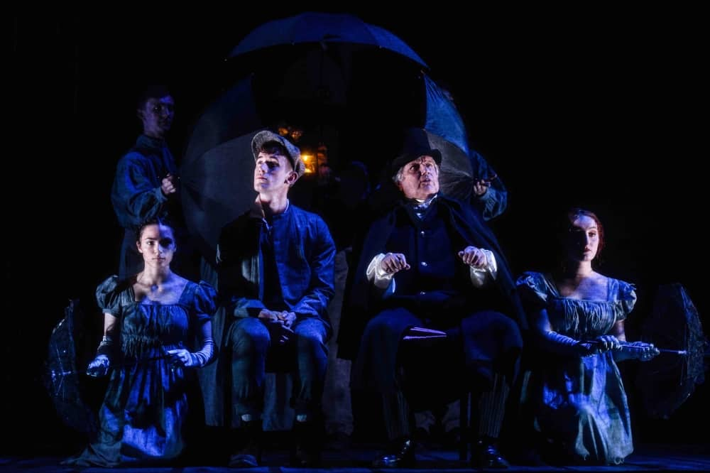 Great Expectations stage production south hill park bracknell pip and Pumblechook umbrella carriage – review