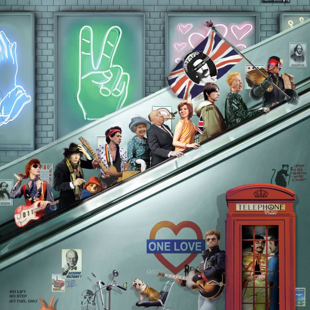 London underground with iconic UK pop an rock stars rising up the escalator